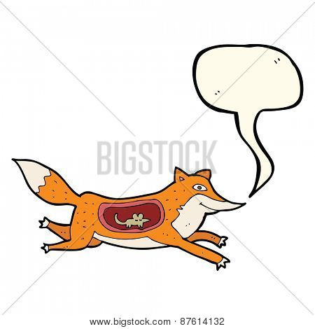 cartoon fox with mouse in belly with speech bubble
