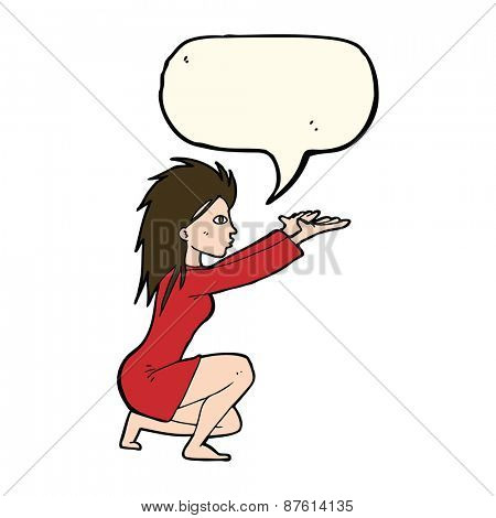 cartoon woman casting spel with speech bubble