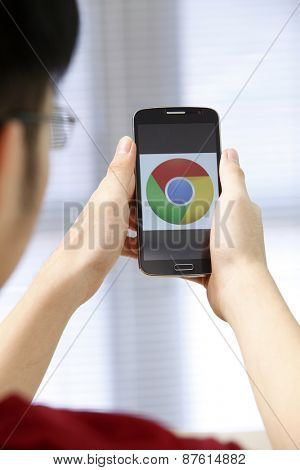 Kuala Lumpur,Malaysia 9th April 2015,Closeup photo of Google Chrome icon on mobile phone screen