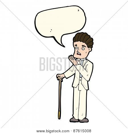 cartoon shocked gentleman with speech bubble