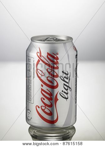 Kuala Lumpur,Malaysia 9th April 2015,can of the coca cola light on the white background