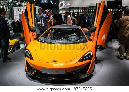 NEW YORK - APRIL 1: McLaren exhibit McLaren 570 S at the 2015 New York International Auto Show during Press day,  public show is running from April 3-12, 2015 in New York, NY.