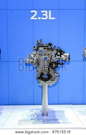 NEW YORK - APRIL 1: Ford exhibit 2.3L Mustang engine at the 2015 New York International Auto Show during Press day,  public show is running from April 3-12, 2015 in New York, NY.