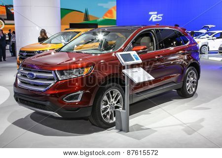 NEW YORK - APRIL 1: Ford exhibit Ford Edge at the 2015 New York International Auto Show during Press day,  public show is running from April 3-12, 2015 in New York, NY.