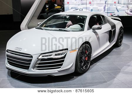 NEW YORK - APRIL 1: Audi exhibit Audi R8 at the 2015 New York International Auto Show during Press day,  public show is running from April 3-12, 2015 in New York, NY.