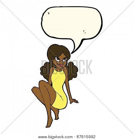 cartoon attractive woman posing with speech bubble