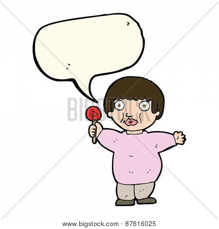 cartoon fat child with speech bubble