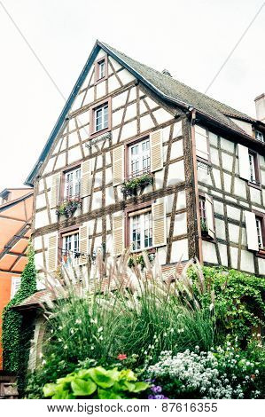 typical Alsace half timbered house