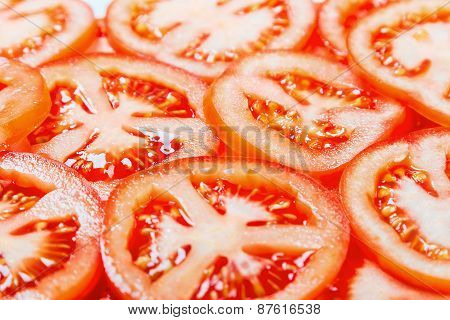 Fresh Natural Background With Slices Of Tomato