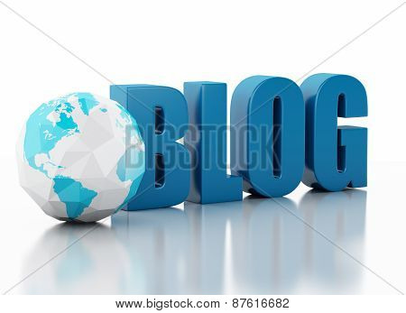 3d blog and low poly earth globe on white background