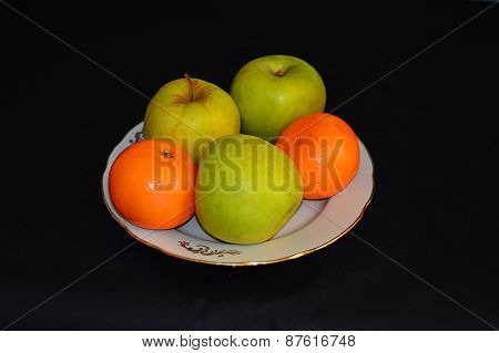Still Life Of Fruit On A Blue Background