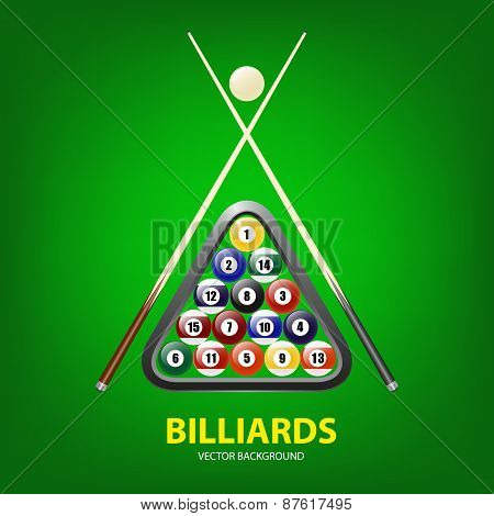 Background With Billiards Balls, Triangle And Two Cues