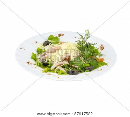 Salad with fresh herbs, meat and olives
