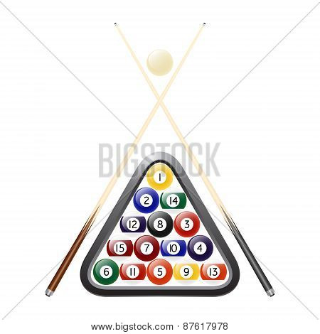 Vector Billiards Balls, Triangle And Two Cues
