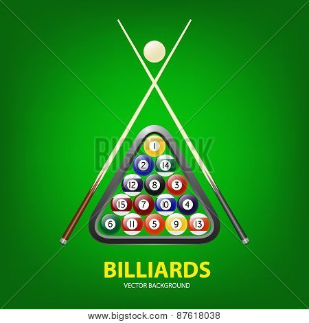 Vector Background With Billiards Balls, Triangle And Two Cues