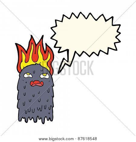 burning cartoon ghost with speech bubble