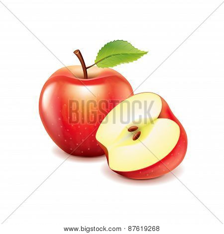 Red Apple And Slice Isolated On White Vector