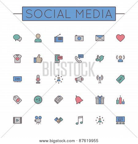 Vector Colored Media Line Icons