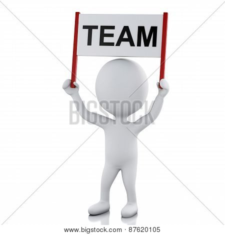 3D White People With Sign Board Banner. Team Concept