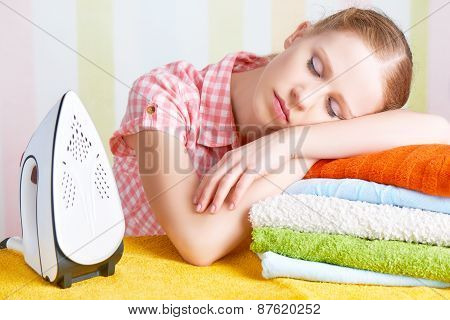 Ired Housewife Fell Asleep On Ironing Board With Iron