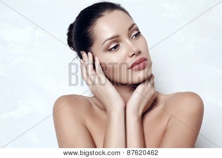 Sensual Woman With Dark Hair With Radiance Healthy Skin