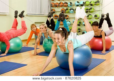 Women Of Different Age Doing Fitness With Balls