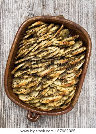 Rustic Roasted Hasselback Potato Gratin