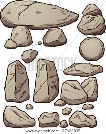 Cartoon boulders. Vector clip art illustration with simple gradients. Each element on a separate layer.