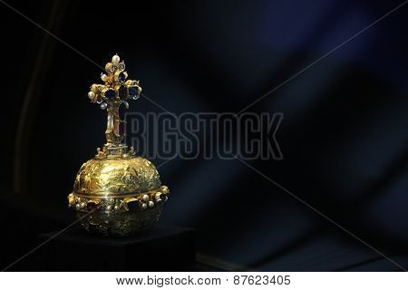 PRAGUE, CZECH REPUBLIC - MAY 10, 2013: Royal Apple displayed at the exhibition of the Bohemian Crown Jewels in Prague, Czech Republic.