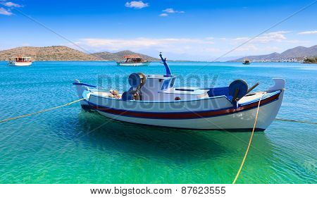 Fishing And Pleasure Boats Off The Coast Of Crete.