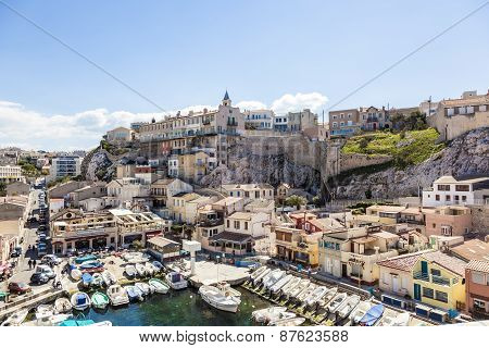 View Of Vallon Des Auffes, Picturesque Old-fashioned Little Fishing Port In Marseille. France