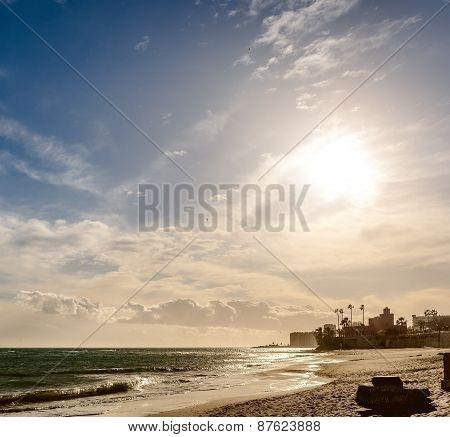 Sunset In Benalmadena Beach. Malaga, Spain