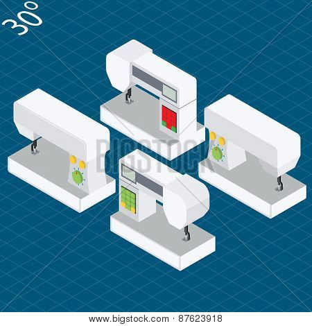 Set modern electronic sewing machines in isometric projection