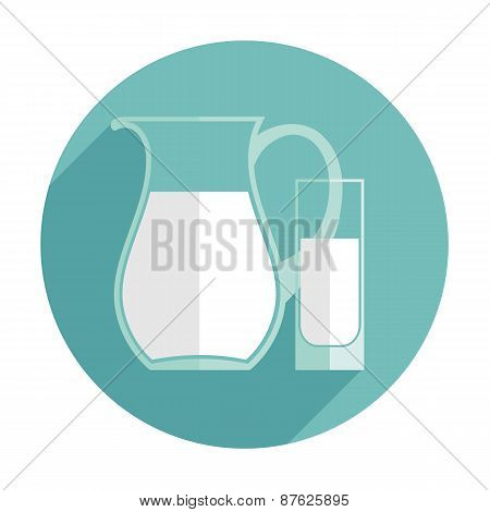 Vector Modern Flat Design Illustration Of Milk.