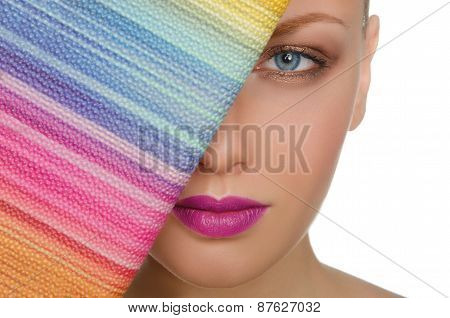 Portrait Of Charming Woman With Colorful Purse