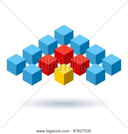 Blue cubes wings logo with red segments