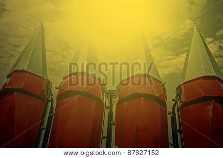 Agricultural Equipment In Sunset Light. Detail 6