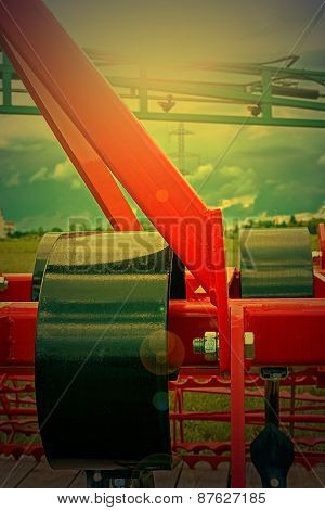 Agricultural Equipment In Sunset Light. Detail 23