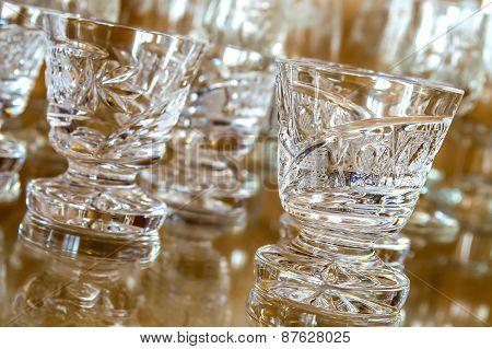 Set of cut glass cups