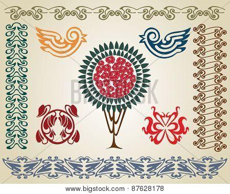 Art Nouveau Set Flower Bird And Pant