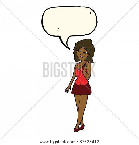 cartoon attractive office woman with speech bubble