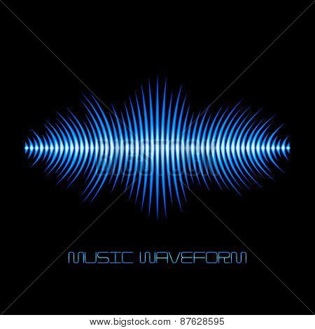 Blue sound waveform with sharp edges