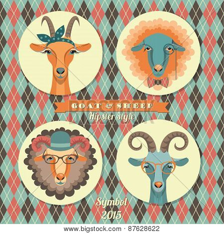 Vector Illustration Of Goat And Sheep, Symbol Of 2015. Hipster Style.