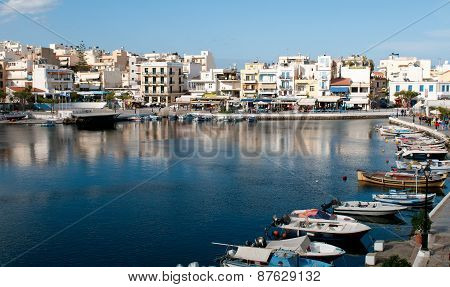 Agios Nikolaos Town Port In Crete, Greece