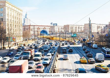 Urban Traffic On Leningradskoye Shosse In Spring