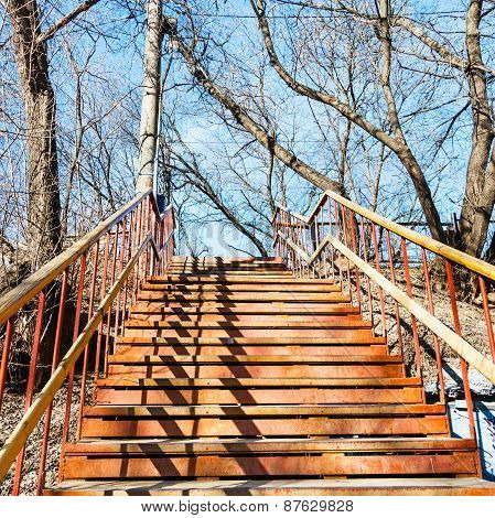 Outdoor Rusty Metal Steps On Spring