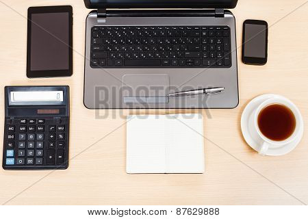 Business Still Life - Top View Of Work Table