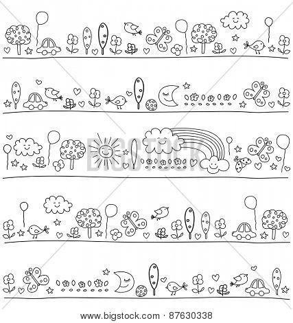 pattern for children with cute nature elements, child like drawing style