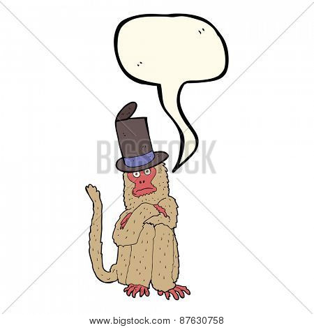cartoon monkey wearing hat with speech bubble