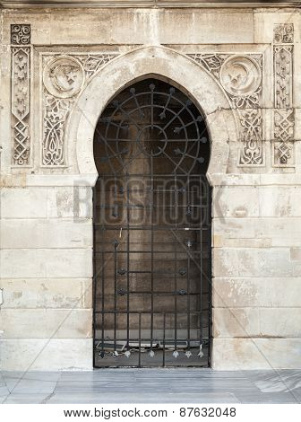 Old Locked Doorway With Arabic Patterns Relief
